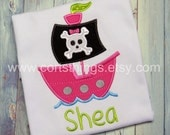 Personalized Girl Pirate Applique Shirt