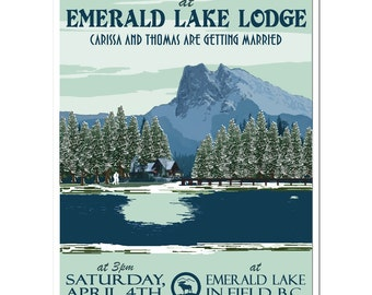 Vintage Emerald Lake Wedding Invitation and Reply Postcard - SAMPLE