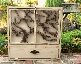 Rustic Home Decor - Kitchen and Bath Storage - Handmade Large Wood Cabinet - Cabinet With Carved Oak Tree Doors - 24 x 24 x 5.5