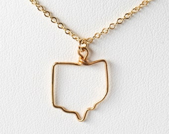 State Necklace |  Gold Silver or Antique Brass Charm Necklace | Wire State Outline Necklace