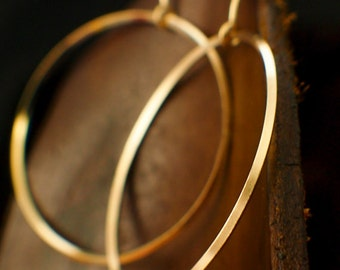 Large Endless On Edge Circle Earrings - 38mm Hoops - 14kt Yellow Gold Filled, 14kt Rose Gold Filled, Sterling Silver