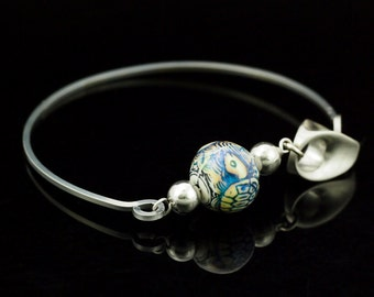 SALE Stainless Steel and Sea Turtle Mood Bead Bangle - Kit or Ready Made