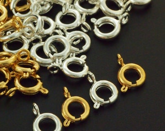 10 - 6mm Spring Clasps - Silver Plated or Gold Plated Brass - Best Commercially Made - 100% Guarantee