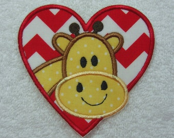 Giraffe Heart Fabric Embroidered Iron On Applique Patch Ready to Ship