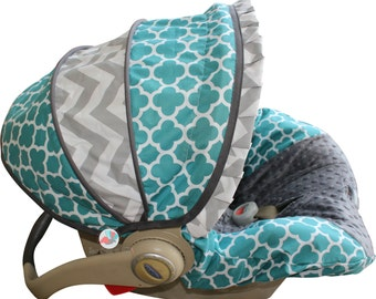 Infant Carseat Cover- Teal Quatrefoil with Grey Chevron