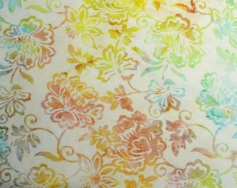 Batik Tonga Sorbet fabric yardage, batik fabric, floral fabric, quilt fabric