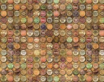 Tim Holtz Multi Top-shop bottle cap fabric yardage