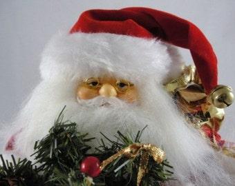 "Vintage Santa in red suit, 13"" tall standing santa, old world santa NOS"