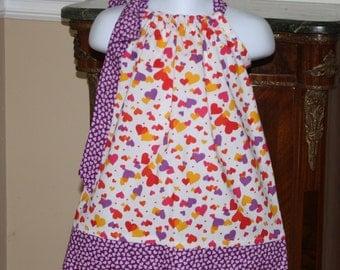 SALE valentines day dress, valentine pillowcase dress with hearts, purple, red, baby dress, girls dresses, blakeandbailey