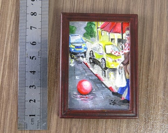 Miniature Acrylic Painting Raining Day/ Dollhouse Small Painting/ Doll House Furniture