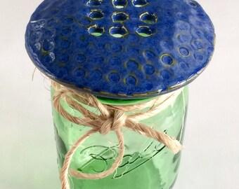 Ceramic Blue Flower Frog and Mason Jar