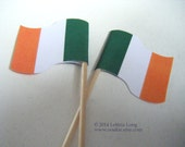 Tricolour Irish Flag CUPCAKE PICK DOWNLOAD, Easy to Make Cake Decorations, Printable flags for cocktail sticks. Ireland St. Patricks Day