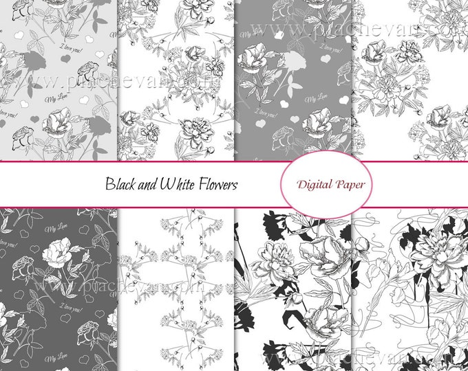 Set seamless pattern with black and white flowers. Digital papers, bouquet, rose, peony, flowers, black and white, botanical,