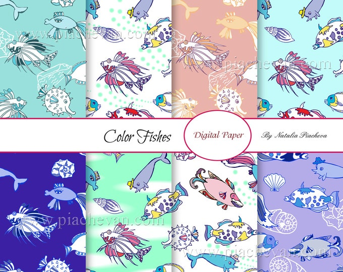 Digital Paper with Color Fishes, fish, water, sea, ocean, marine, waves, fishing