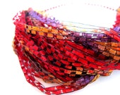 Red yarn necklace, travelling yarn necklace, chic multistrand yarn necklace, scarf fiber jewelry