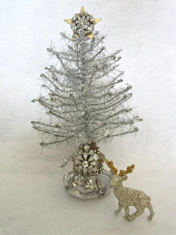 Vintage Silver Christmas Tree Vintage Doorknob Rhinestones
