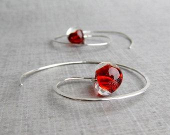Fire Red Silver Spiral Earrings, Lampwork Earrings Red Glass, Sterling Silver Earrings, Red Earrings, Spiral Hoops, Silver Hoops Red Silver