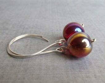 Dark Red Earrings, Red Aurora Borealis Earrings, Red Dangle Earrings, Red Glass Earrings, Silver Earrings Red, Sterling Silver Wire Earrings