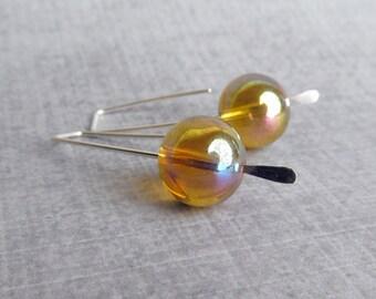 Amber Brown Earrings, Modern Earrings, Silver Wire Earrings, Minimalist Earrings, Brown Glass Earrings, Sterling Silver Earrings Brown Amber