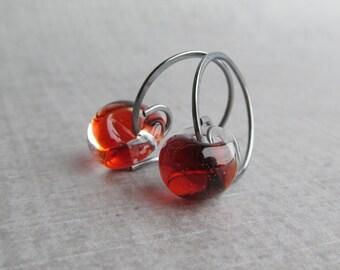 Fire Red Earrings, Small Hoop Earrings, Wire Earrings Small, Red Lampwork Earrings, Red Glass Hoop Earrings,  Oxidized Silver Small Earrings