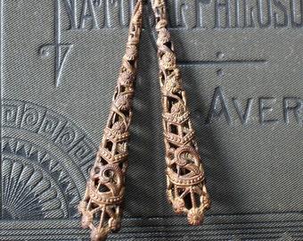Art Deco Oxidized Brass Long Filigree Bead Cone Caps