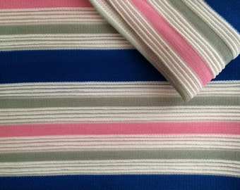 Vintage Fabric 70's Polyester, Pink, Blue, Grey, White, Striped, Material, Two Pieces