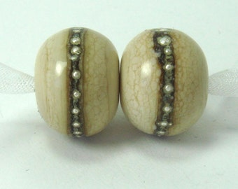 Handmade lampwork beads  -  Organic Sandstone  -  cream, SIS, dark ivory,  fine silver wire, loose glass beads