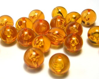 Vintage Lucite Topaz Round Beads (12mm) - Vintage Beads