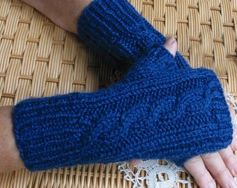 New Royal Blue Fingerless Texting Gloves - Chunky Shetland Acrylic Wool Blend