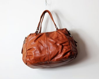 Tan leather bag tote purse