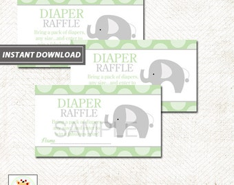 Green Mod Elephant Neutral Baby Shower Diaper Raffle Tickets INSTANT DOWNLOAD