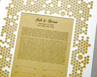 Papercut Ketubah Honeycomb - Modern Ketubah print with vintage book background and papercut or woodcut layer - Interfaith ketubah
