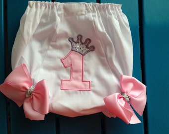 1st Birthday Custom Personalized Diaper Cover Bloomers princess crown pink  and grey