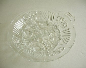 Vintage Depression Glass Bowl Divided Indiana Glass Footed EAPG Killarney Relish Candy Dish Shabby Cottage