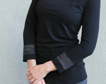 Sale, Small, Bracelet Top Long Sleeve, Black Bamboo Jersey, tunic, modern chic, eco fashion- ready to ship