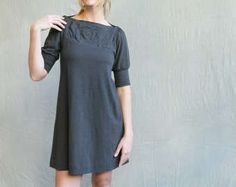 Folded Swing Dress, Mid Sleeve, Cotton Jersey, Modern Feminine, One of a Kind- made to order