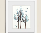 Watercolor Tree Art Print, 11 x 14 Blue Wall Art for House Decor, Bedroom or Bathroom Wall Art, Living Rom Art  (112)