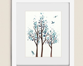 Watercolor Tree Art Print, 11 X 14 Blue Wall Art For House Decor, Bedroom