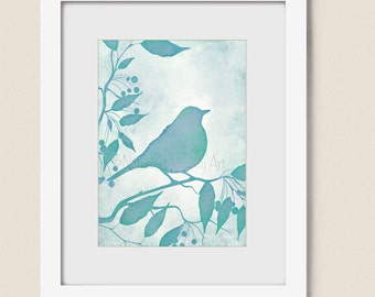 Bird On Branch Botanical Wall Art For Home Or Office Nature