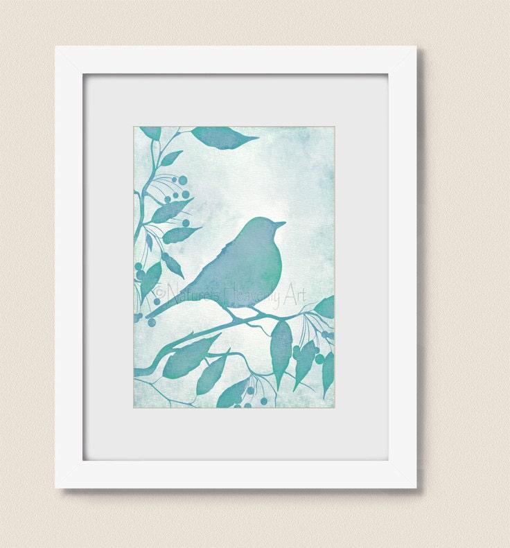 5 X 7 Aqua Blue Wall Decor Bird Wall Art Print Turquoise Home