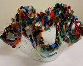 Multi color fused glass candle holder