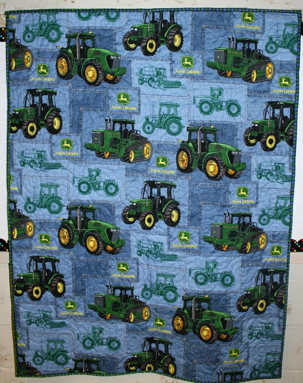 John Deere Quilt Patterns : John deere tractor quilt lap toddler wall
