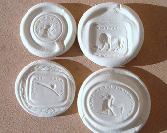 Tree Stump, Lion, Feather, Heart, Cherub Resin Wax Seal Reproduction Impression Set 6