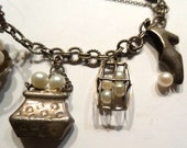Sterling and Pearl Very Unusual Charm Bracelet. Vintage Very Special Beauty.