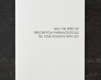 holiday wish: pharmaceuticals. letterpress card. silver envelope. graeber. #701