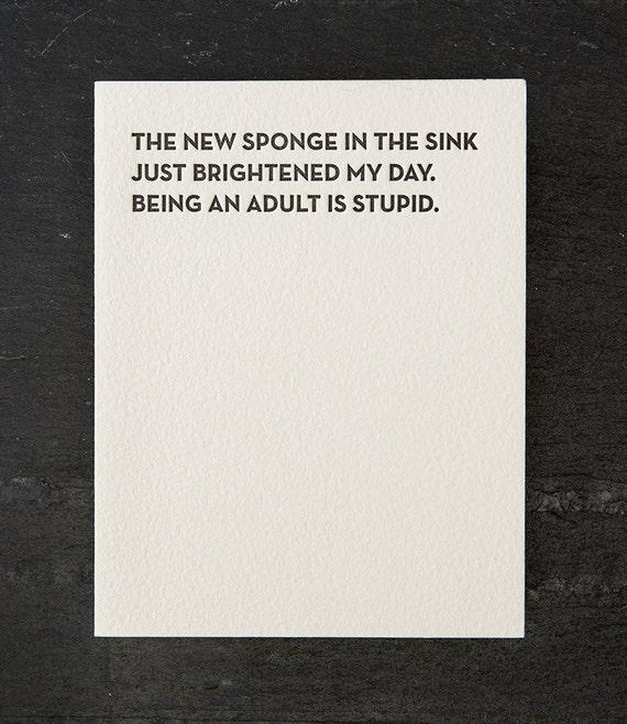 new sponge. letterpress card. #101