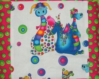 Quilt for Girls Colorful Dragon Quilt  in Pink and Green Baby Blanket Nursery Bedding