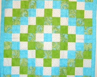Quilt for Baby Girls in Lime and Turquoise  Baby Blanket Nursery Bedding