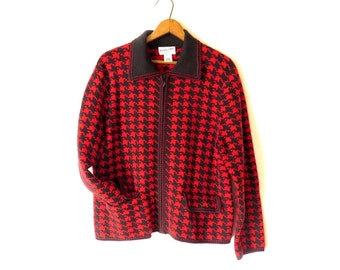Vintage Pendleton Houndstooth Sweater Merino wool red and black 1980s Collar zippered sweater Houndstooth geometric design size Large