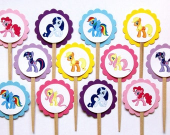 My Little Pony Cupcake Toppers . My Little Pony Birthday Party . My Little Pony Cake . Set of 12